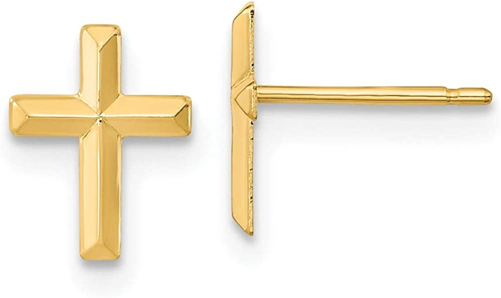 14k Yellow Gold 3d Cross Religious Post Stud Earrings Ball Button Fine Jewelry For Women Gifts For Her
