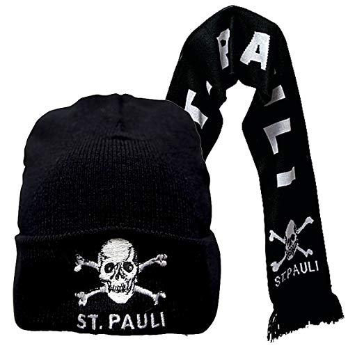 FC St. Pauli 2-teiliges Kombi-Set Mütze & Schal Totenkopf klassisches Motiv - schwarz weiß