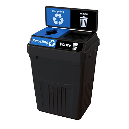 CleanRiver Flex E bin Indoor and Outdoor Sturdy 2-in-1 Waste and Recycling Bin with Backboard- Commercial Waste Recycling Compost Trash  FX50B-BK2-R-BE-W-BK, 50 Gallons, Black