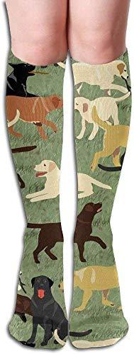 xinfub Long Socks More Labradors are Fetching Kompressionsstrümpfe für Damen und Herren, modisch über das Knie, hohe Socken bequem, 6050