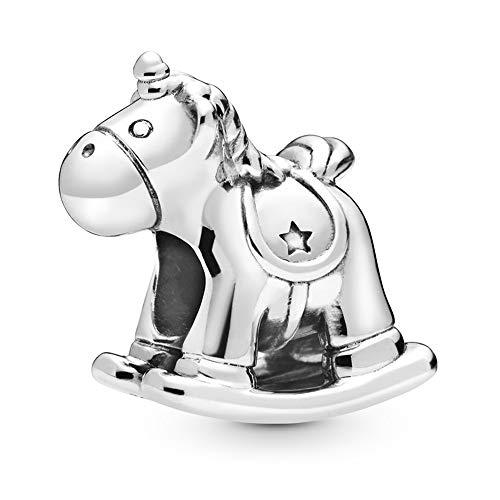MiniJewelry Baby Boy Girl Handprint - Coletero con diseño de caballo balancín Plateado