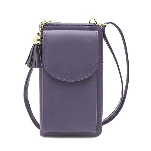 Women Crossbody Cell Phone Bag Small Shoulder Purse Leather Travel RFID Card Wallet Case Handbag Phone Pocket Baggap Clutch for iPhone 11 Se 2020 11 Pro Xr X Xs Max 8/7/6 Plus Samsung (YY-Purple)