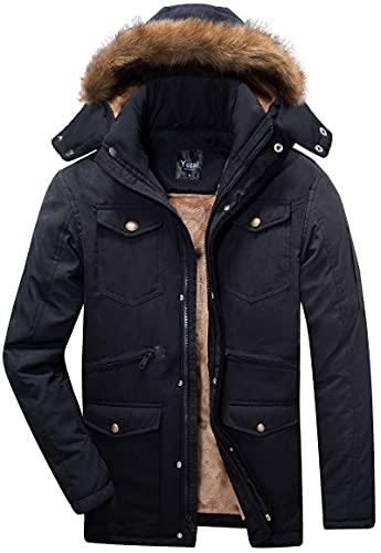 Yozai Men's Winter Coats, Warm Fleece Winter Jackets for Mens Ski Snow Jacket Snowboard Waterproof Jacket Mountain Windbreaker Detachable Hooded Parka Black Large