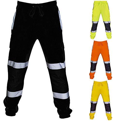 Meaeo Pantalon de survêtement de sécurité pour Hommes Bas en Molleton de Travail réfléchissant Pantalon à Rayures Survêtement de Travail Pantalon de Jogging Ample Pantalon Cargo Pantalon-Noir_L
