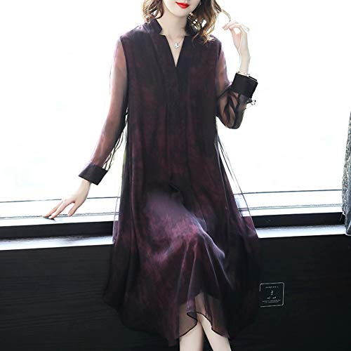 BINGQZ Cocktail Jurken Lente vrouwen temperament V-hals lange losse paarse rok zijde jurk