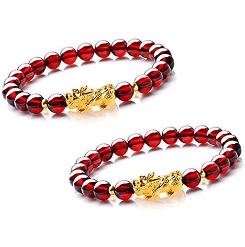 Garnet Slimming Bracelet Stress Relief Yoga Reiki Bracelet Chakra Beads Natural Triple Protection Bracelet - Bring Luck and Prosperity for Women (2PCS)