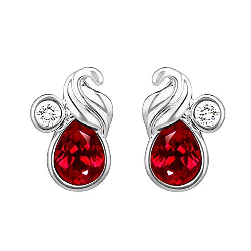 Indian Decor & Attire con cristales de Swarovski rojo pavo real chapado en rodio pendientes de San Valentín para las mujeres ER1194114RRed