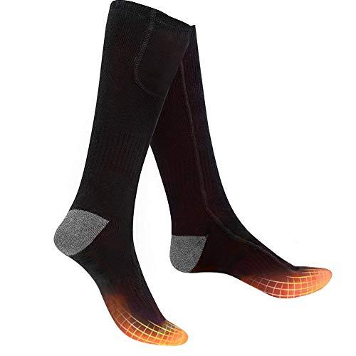 Bilisder Beheizte Socken Elektrisch Thermosocken Warme Wintersocken mit 2200 mAh Batterie 3 Dateien Temperatur für Damen Herren (Schwarz)