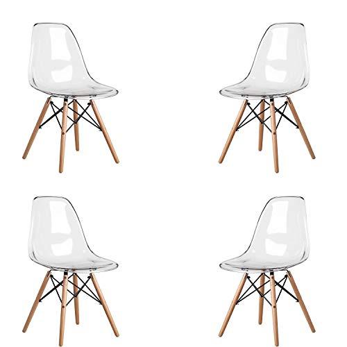 MeillAcc 4 Stück skandinavischer transparenter Stuhl Esszimmerstuhl Polycarbonat Stuhl Transparent Stuhl Einfach und Bequem (Weiß)