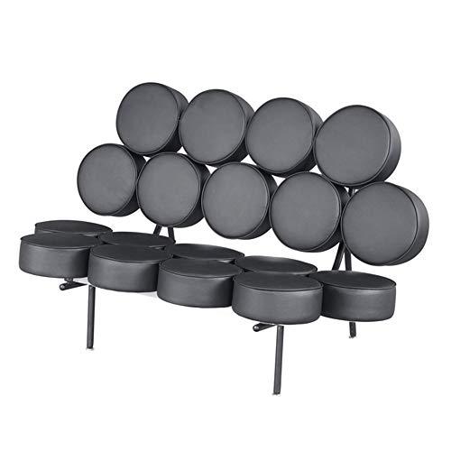 Wfdqyl Sofá Cuero auténtico, 52' Modern Drum Sofá sofá con Las piernas de Acero Inoxidable para la Sala de Estar Sala de Lectura del Ministerio del Interior (Negro),Negro