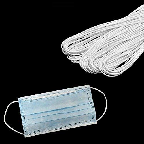 MeGaProm 5m Gummiband für DIY-Gesichtsmaske, Ø2mm Gummiseil, Mundschutz Ohrbändern, Schnur, elastische Kordel für Mund-Nasen-Schutz-Bedeckung, Rund-Gummi in Weiß