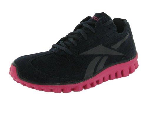 Reebok Womens RealFlex Run - Suede,Black-Pink-Silver,10 B(M) US