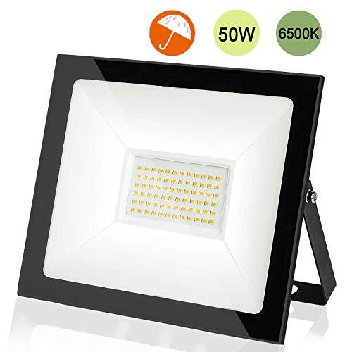 LEDMO Faro LED Esterno 50W Bianco 6500K, Faretto LED IP66 Impermeabile, 5000lm Alta luminosità