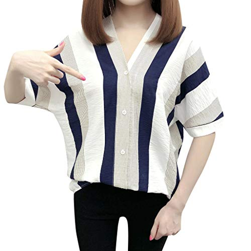 FRAUIT shirt met lange mouwen dames streep jeans blouse hemd halve mouwen losse casual denim ruit V-hals blousenshirt boyfriend button-down blousenshirt vrije tijd met knopen elegante kleding tops
