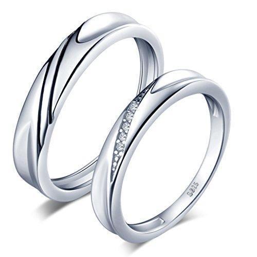 Unendlich U Simpel Welle 925 Sterling Silber Zirkonia Paar Band Ringe Eheringe Trauringe Verlobungsringe Partnerringe, Größe 51