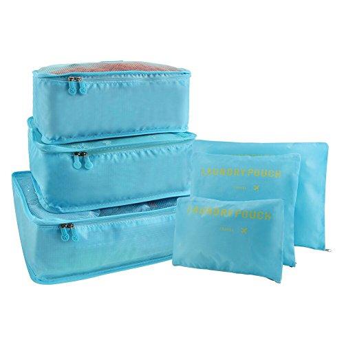 Vicloon 6 en 1 Set de Organizador de Equipaje,Impermeable Organizador de Maleta Bolsa Viaje con Bolsa de Zapato (Cielo Azul)