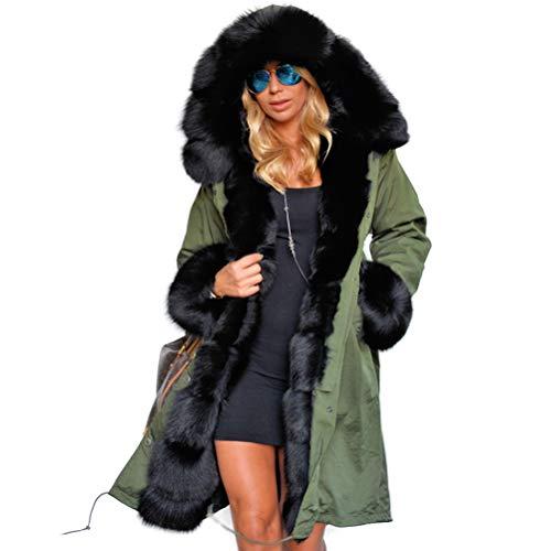 BESTOYARD Dames Mode Lange Winterjas Warm Vrouw Pluizige Hooded Parka Jassen Bovenkleding Maat XXXL (Leger Groen)