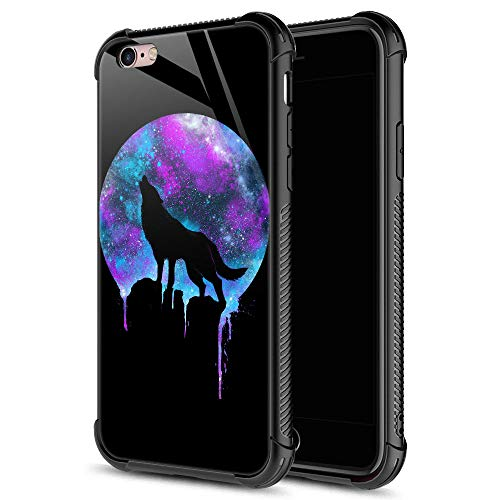iPhone 6S Case,Space Wolf Full Moon iPhone 6 Cases for Boys Men,9H Tempered Glass Graphic Design Shockproof Anti-Scratch Tempered Glass Case for Apple iPhone 6/6S
