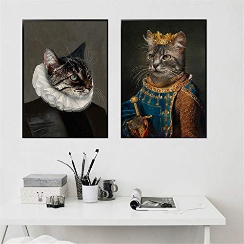 KWzEQ Vintages Katzen-Tierkunst-Ölgemälde auf den Wandkunstplakaten und -drucken für Wohnzimmerdekoration,50X70cmx2,Rahmenlose Malerei