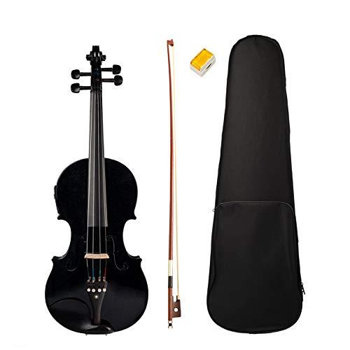 Fanuse 4/4 Violino Full Size Violino Suono e Violino Elettrico Corpo in Legno Massello Accessori in Ebano Violino Elettrico Nero di Alta qualità