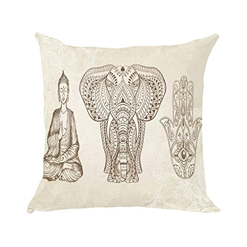 Caifujiqi Boho Elephant Throw Pillow Covers Buddha Hamsa Decorative Pillow Cases Square Pillow Cover Printed Pillowcase with Zipper for Sofa Couch 18x18 Inch