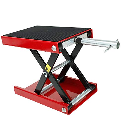 LucaSng Motorcycle Wide Deck Scissor Lift Jack Dilated Center Hoist Stand-1100 LB, Capacity Bikes ATVs,Motorcycle Dirt Bike Scooter Crank Stand Red