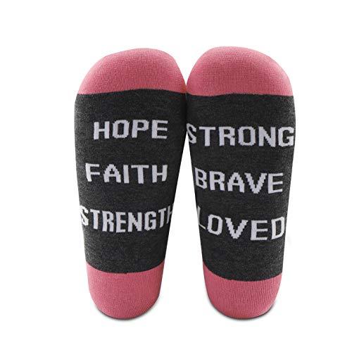 Beat Cancer Socks 2 pares de calcetines de concienciación contra el cáncer de mama Chemo regalos para pacientes cáncer Superviviente Regalos para mujeres Esperanza fe fuerza