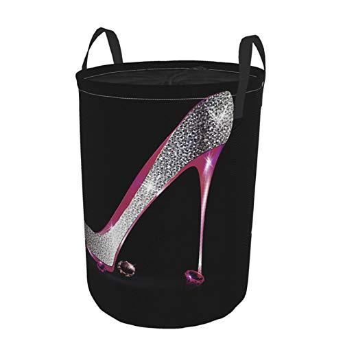 """Plegable Grande Cesto de Ropa Sucia para el Hogar,Sliver Pink Diamonds Girly Zapato Diseño Creativo Moda Tacones Altos en Negro,Lavandería Cesta de Almacenaje Impermeable con Cordón,16.5"""" x 21.6"""""""