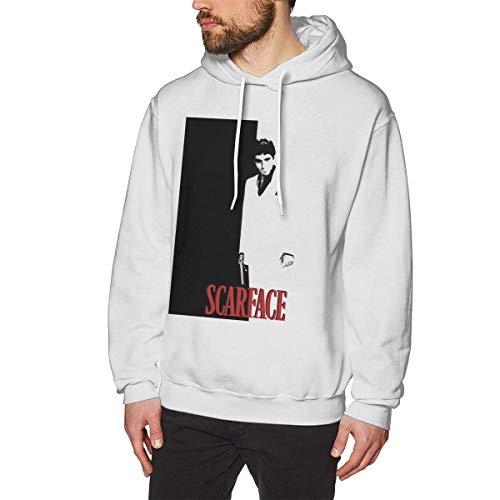 AKKUI Hooded Sweat Herren Kapuzenpullover LIHEHEN Men's Scarface Spiritual Fashion Sports Loose Long Sleeve Hoodie Sweatshirt White