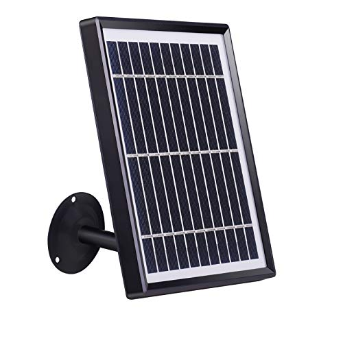 Tonton Solar Panel for Rechargeable Battery Security Camera with Adjustable Mounting Bracket, 10ft/3m Micro-USB and Type-C Charging Cable, Plug and Play, Easy to Install, Non-Stop Charging
