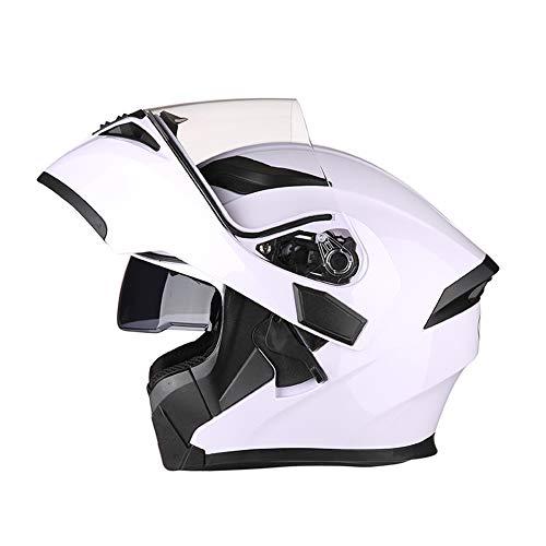 Sanqing Motorradhelm, Modularer Integralhelm Klappbarer Doppelvisier-Sonnenschutz/Anti-Fog-Helm, Dirt Bike-Helm für Vier Jahreszeiten,White,L