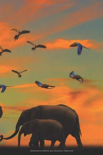 Krafttier Elefant - Notizbuch mit Elefanten Motiv: blanko Malbuch / Tagebuch / Notizbuch ohne Linien a5 |120 Seiten Softcover