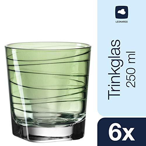 Leonardo 018230Vario–Juego de 6Vasos pequeños Struttura Verde, Cristal, Verde, 8.30X 8.30X 9Cm, 6Unidades