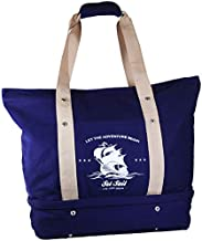 Flymingo Nautical Sailboat Canvas Large Tote with Dedicated Shoe Compartment - Perfect Bag for Swimming, Yoga, Beach, Travel, Vacation etc