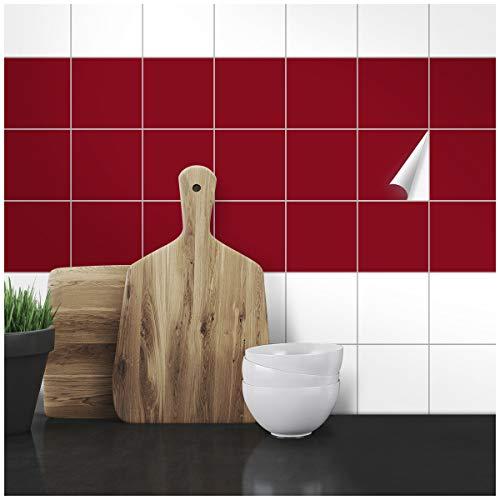 Wandkings Fliesenaufkleber - Wähle eine Farbe & Größe - Weinrot Seidenmatt - 9,5 x 9,5 cm - 50 Stück für Fliesen in Küche, Bad & mehr