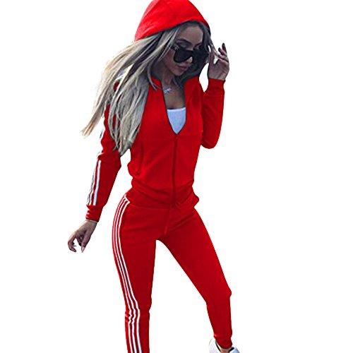 Damen-Trainingsanzug, langärmelig, Reißverschluss, Kapuzenpullover + Hose, Jogginganzug, Sport, Yoga, Fitnessstudio, Workout-Outfit, 3 Farben Gr. 36, rot