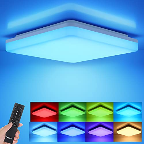 LED Ceiling Light, Oeegoo 36W 3600lm Mordern RGB Ceiling Light 13Inch Flush Mount Ceiling Light with Remote, Dimmable Bedroom Light Fixtures Ceiling 7 RGB Colors for Bedroom Kids Room Living Room