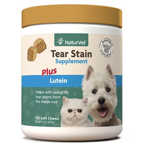 NaturVet Lutein Tear Stain Supplements for Dogs & Cats – Prevents Tear Stains for Dog  Cat Breeds – Includes Oregon Grape Root  Marshmallow Root  Cranberry Extract – 120 Ct.