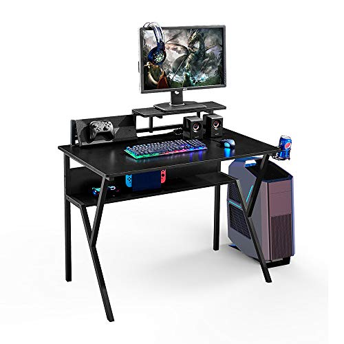 BonChoice 15mm Durable Black Gaming Desk Table with Shelves & Cup Holder for Home/Office, Computer Desk Table, Study Writing Table for Children Kids, Sturdy Tabletop and Metal Frame