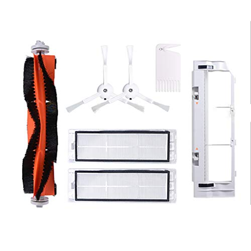Zubehör für XiaoMi/RoboRock Vacuum Cleaner Saugroboter (7-Teilig),1 Zentralbürste + 2 Seitenbürste + 1 Reinigungshilfe + 2 HEPA Filters,+ 1 Hauptbürstenabdeckung Staubsauger-Teile Ersatz