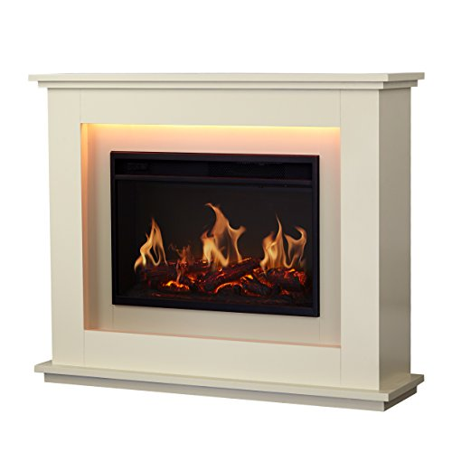 Warmlite Washington Electric Fire Suite with Adjustable Thermostat Control, Safety Cut-Out System, Realistic LED Flame Effect, Remote Control Included, 2 Heat Settings 1000-2000 W, Ivory