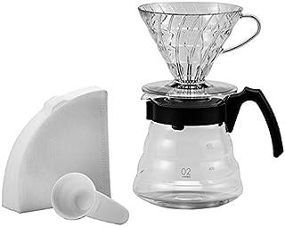 Hario Einsteigerset Kaffee 4 teilig glas Schwarz V60 hantverk kaffebryggare 17, 3 x 24, 5 x 13 cm VCSD-02B-EX