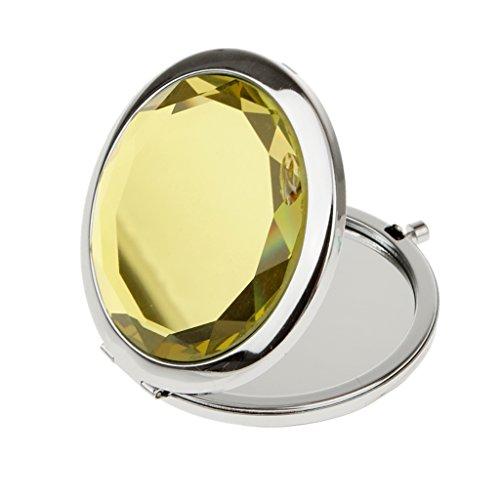 Miroir de Poche Pliable Cosmétique Rond Loupe Maquillage Voyage - Jaune
