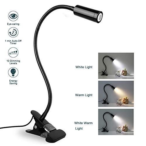 Lzonunl Leselampe Klemmleuchte - 3W LED Bett Klemme, 3-Stufen Farbtemperatur & 10 Helligkeit dimmer, Auto-Off & Speicherfunktion, Augenschutz Schreibtischlampe 360 ° Flexibler Schwanenhals Tischlampe