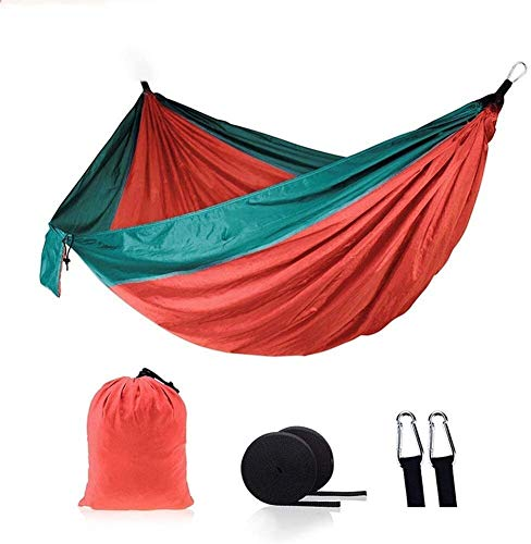 ZHPBHD Hammocks Outdoor Hammock 200kg Load Capacity 270 X 140 Cm Breathable Quick-drying Nylon For Outdoor Indoor Garden Multipurpose (Color : Red)