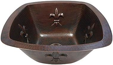 """15"""" Square Copper Kitchen Bar Prep Sink with Fleur de Lis Design"""