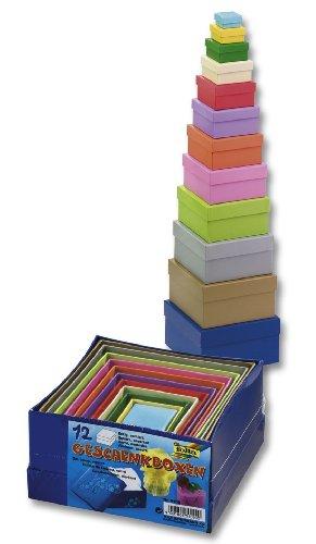 folia 3109 - Geschenkboxen, Pappschachteln aus Karton, quadratisch, 12 Stück in verschiedenen Größen und Farben - ideal zum Verzieren und Verschenken