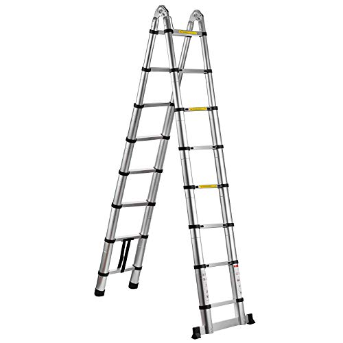 SHZOND 16.5 FT Aluminum Telescopic Extension Ladder 330 LBS Capacity A-Type Telescoping Ladder Multi Purpose Extension Ladder with Spring Loaded Locking (16.5 FT)