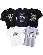 Tシャツ メンズ 半袖 5枚組 プリント 綿100%クルーネック夏 服 肌着 5点セット カジュアル おしゃれ インナーシャツ 肌着 カジュアル 丸首 カットソー トップス スポーツ 快適