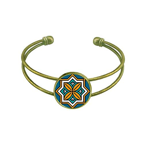 DIYthinker Abstrakte Geometrie Marokko Stil Muster Armband Armreif Retro Offene Manschette Schmuck